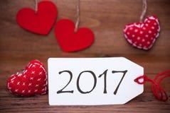 Leia corações, etiqueta, texto 2017 Fotografia de Stock Royalty Free
