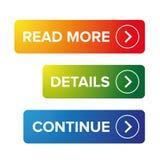 Leia mais detalhes continuam o botão ilustração stock