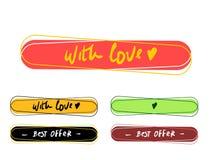 Leia um bot?o mais colorido ajustado com amor A melhor oferta ?cone isolado da etiqueta Vetor M?o escrita para uma bandeira do de ilustração do vetor