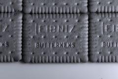 Leibniz-Keks, γερμανικό εμπορικό σήμα, υπόβαθρο μπισκότων κακάου Στοκ Φωτογραφία