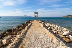 Leibwächterhütte auf dem Meer stockfotografie
