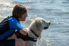 Leibwächterhunde und -lehrer am Strand lizenzfreie stockfotografie