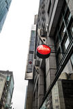 Leica camera red dot logo at shop in Tokyo Japan on March 31, 2017 Royalty Free Stock Photos