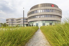 Leica Factory and Museum in Wetzlar, Germany. WETZLAR, GERMANY - JULY 24, 2016: Futuristic buildings of the Leica cameras factory and office in the Leitz Park royalty free stock photography