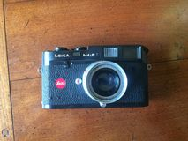 Leica M4 P. Rangefinder camera Leica m4 p with 50mm folding elmar Stock Photography