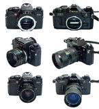 Leica R4S and Canon AE-1 Program SLR camera isolated in multiple view Stock Photo