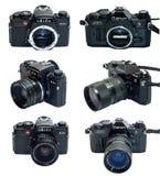 Leica R4S i Canon AE-1 Programujemy SLR kamerę odizolowywającą w wieloskładnikowym widoku Zdjęcie Stock