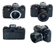 Leica R4S SLR camera isolated in multiple view Royalty Free Stock Images
