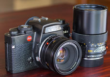 Leica R4S with their lens in natural light Royalty Free Stock Photos