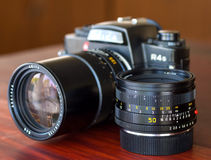 Leica R4S with their lens in natural light Royalty Free Stock Photo