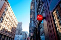Leica skyltfönster i stadens centrum San Francisco Royaltyfri Fotografi