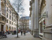 Leica Store City at the Royal Exchange, a premium shopping destination, on a sunny day. Wide street view. London, UK - March 20 2018: Leica store at the Royal stock photography