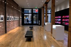Leica Store Gallery San Francisco. The Leica Store in San Francisco is photographer heaven. The expansive space always features an awesome exhibit of photographs Stock Photo