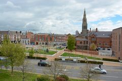 Leicester city centre. With Leicester cathedral in the background Royalty Free Stock Photos