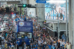 Leicester City parade through the urban area of Bangkok, Thailand to celebrate first time English Premier League. Royalty Free Stock Photography