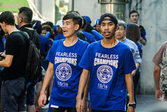 Leicester City Supporter waiting for Leicester City Team parade to celebrate First Championship of English Premiere League 2015-16 Royalty Free Stock Photos