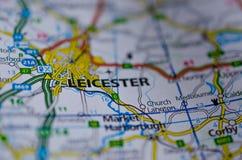 Leicester en mapa Fotos de archivo libres de regalías