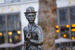 Leicester fyrkant, London, större London, 7th Februari 2019, staty av Sir Charles Chaplin royaltyfria foton
