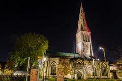 Leicester katedra nocą Zdjęcie Stock