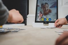 Leicester, Leicestershire, United Kingdom. 22 February 2019. School age kids learning and enjoying on Osmo, a platform using iPads. Osmo is a line of stock images
