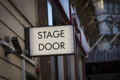 Leicester Square area, London, UK, 7th February 2019, Stage Door sign in Theatreland stock photos