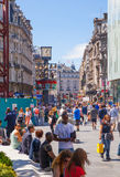 Leicester square, popular place with cinemas, cafes and restaurants, London. LONDON, UK - SEPTEMBER 30, 2014: Leicester square, popular place with cinemas Royalty Free Stock Photos