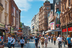 Leicester square, popular place with cinemas, cafes and restaurants, London. Stock Image