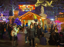Leicester square traditional fun fair, London. LONDON, UK - NOVEMBER 30, 2014 - Leicester square traditional fun fair with stools, carrousel, prises to win and Stock Photos