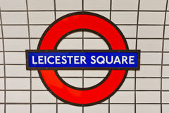 Leicester square tube sign Stock Photo