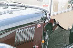 SIde vents on a British Made Morgan sports care at a classic car royalty free stock image