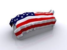Leiche unter USA-Markierungsfahne stock abbildung