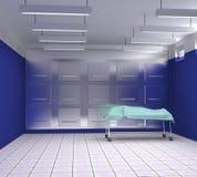 Leichenschauhaus mit den blauen und weißen Wänden Stockfotos