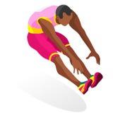 Leichtathletik-Dreisprungs-Sommer-Spiel-Ikonen-Satz isometrischer Athlet 3D Lizenzfreies Stockfoto