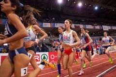 Leichtathletik - Frau 1500m Stockbilder
