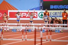 Leichtathletik - Hürden der Frauen-60m - Milica Emini Lizenzfreies Stockfoto