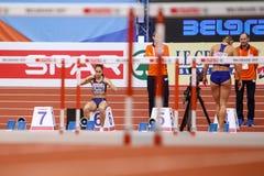 Leichtathletik - Hürden der Frauen-60m - Milica Emini Stockfotos