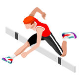 Leichtathletik-Hürden-springender Sommer-Spiel-Ikonen-Satz isometrischer Athlet 3D Olympics, die Meisterschafts-internationale Le lizenzfreie abbildung
