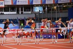 Leichtathletik - Hürden TRAJKOVIC Mailand der Mann-60m Lizenzfreies Stockbild
