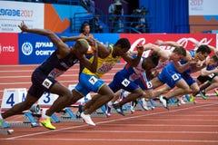 Leichtathletik - Mann 60m Stockfotos