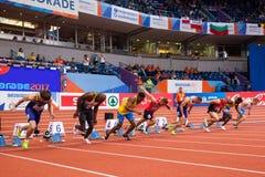 Leichtathletik - Mann 60m Stockbilder