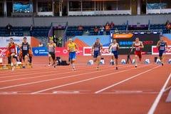 Leichtathletik - Mann 60m Heptathlon Lizenzfreie Stockbilder