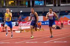 Leichtathletik - Mann 60m Heptathlon Stockbilder