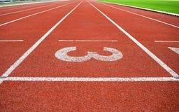 Leichtathletik-Stadions-Laufbahn Nr. 3 Stockfotografie