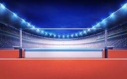Leichtathletikstadion mit Hochsprungsbeitrag Stockbild