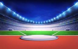 Leichtathletikstadion mit Kugelstoßen-, Diskus- und Hammerwurf Stockbilder