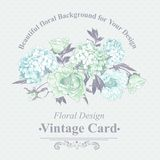 Leichte blaue Weinlese-Blumengruß-Karte Stockfoto