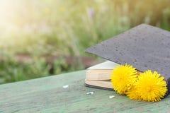 Leichter Regen unterbrochene Lesung im Freien Stockfotos
