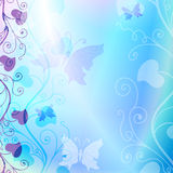 Leichtes blaues Blumenfeld Lizenzfreies Stockfoto