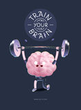 Leid uw hersenenaffiche met het van letters voorzien, gewichtheffen op Royalty-vrije Stock Afbeelding