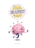 Leid uw hersenenaffiche met het van letters voorzien, het lopen op Stock Fotografie